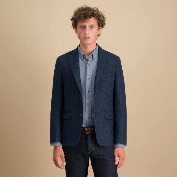 Veste en flanelle de laine à chevrons bleue